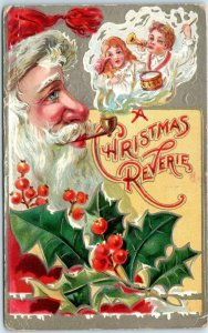 Vintage SANTA CLAUS Postcard Smoking Pipe A CHRISTMAS REVERIE 1909 Cancel