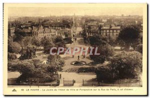 Old Postcard Le Havre The garden of & # 39Hotel City and Perspective on Paris...