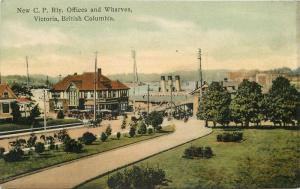 1907 Victoria British Columbia Canada CP Railway Offices Wharves postcard 6638
