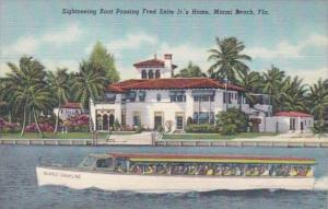 Florida Miami Beach Sightseeing Boat Passing Fred Snite Jr's Home Curteich
