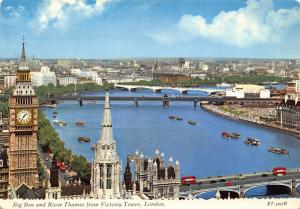 London Big Ben and River Thames from Victoria Tower Bridges Postcard
