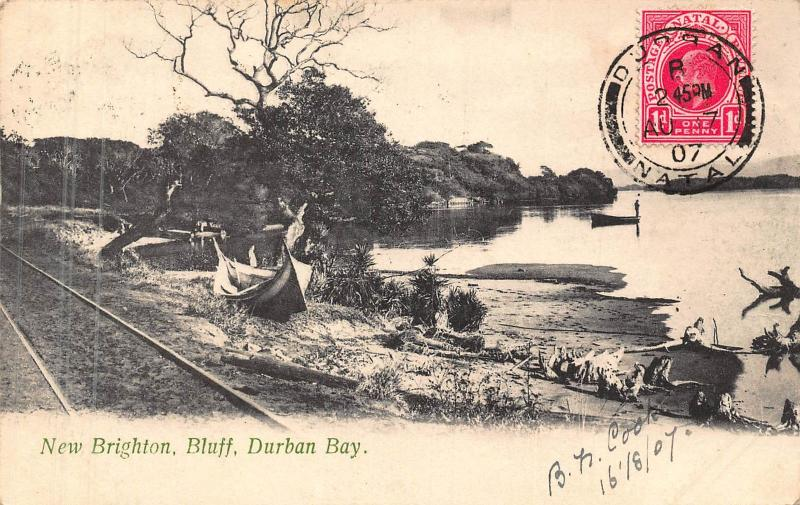 South Africa Durban Bay New Brighton Bluff 1907 postcard