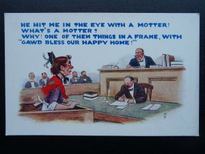 Barrister Law Wig & Gown HE HIT ME IN THE EYE WITH A MOTTER! - Old Postcard