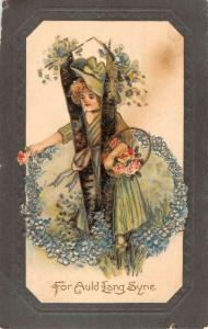 New Year Auld Lang Syne Flower Woman Antique Postcard K78493