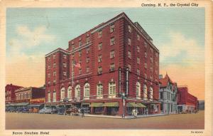 Corning New York~Baron Steuben Hotel~Man Xing Street~Lounge Bar~1937 Postcard