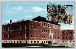 Rantoul IL~Chanute Filed~Army Air Base Mechanics on Plane~Hospital~1940s Linen
