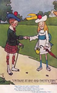 I'm Twenty Robert Burns Scottish Poet Courting Antique Comic Postcard