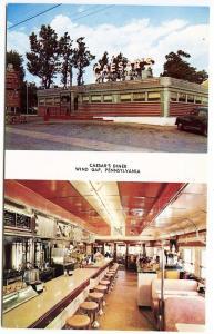 Wind Gap PA Caesar's Diner Multi-View Pocono's Old Car Postcard