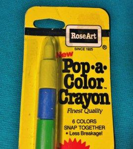 1985 Rose Art Vintage Pop-A-Color Crayon RARE 6 Colors Snap Together Retro Kids