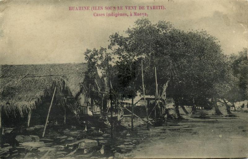 french polynesia, Society Islands, HUAHINE MAEVA, Native Houses (1899) Postcard
