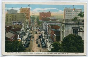 Fayetteville Street Scene Raleigh North Carolina 1928 postcard