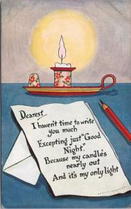 Good Night Candle Pencil Light c1916 Postcard E31