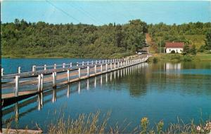 Brookfield Vermont~Dirt Road Runs Downhill to Floating Bridge~1950s Postcard
