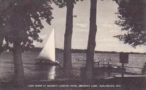 Wisconsin Burlington Lake Scene at Moores Lake Side Hotel Browns Lake Artvue