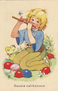 Vesele velikonoce Blond girl playing flute, chick chirping, colored eggs, 1...