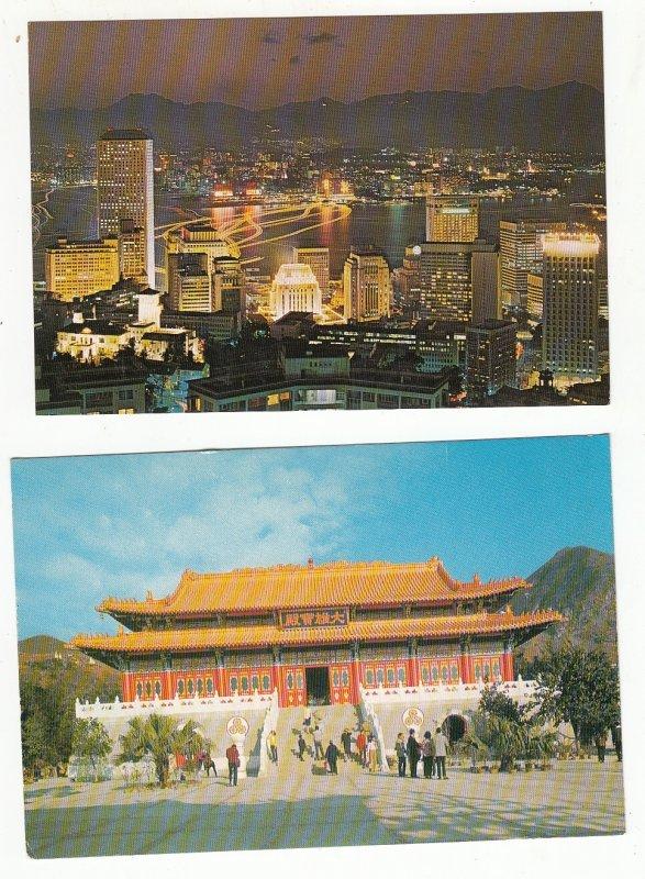 P1902, 2 dif vintage views hong kong night scene f/peak,buddist temple ngon ping