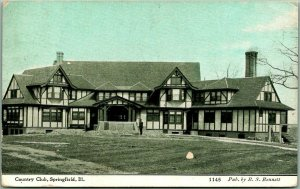 Springfield, Illinois Postcard COUNTRY CLUB Clubhouse View / 1910 Cancel