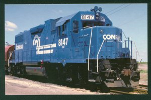 Conrail Train No 8147 EMD Diesel Engine Blue Train Railroad Postcard