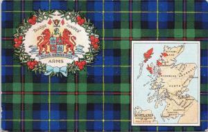 Scotland Map Colours Coat of Arms Badge Juniper Blue Green Antique Postcard E36