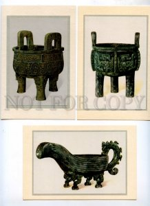 434292 CHINA treasures antiquity set 6 postcards-images on mat original cover