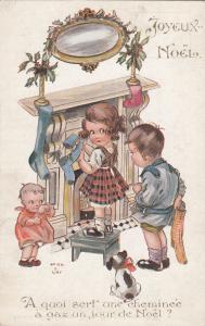 Helen B. Gay signed Christmas fantasy children caricature comic postcard