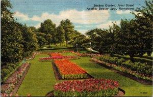 Postcard PA Pennsylvania Harrisburg City Sunken Garden Front Street Unposted