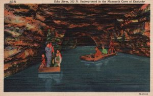 Mammoth Cave of Kentucky, KY, Echo River, 1937 Linen Vintage Postcard g8281