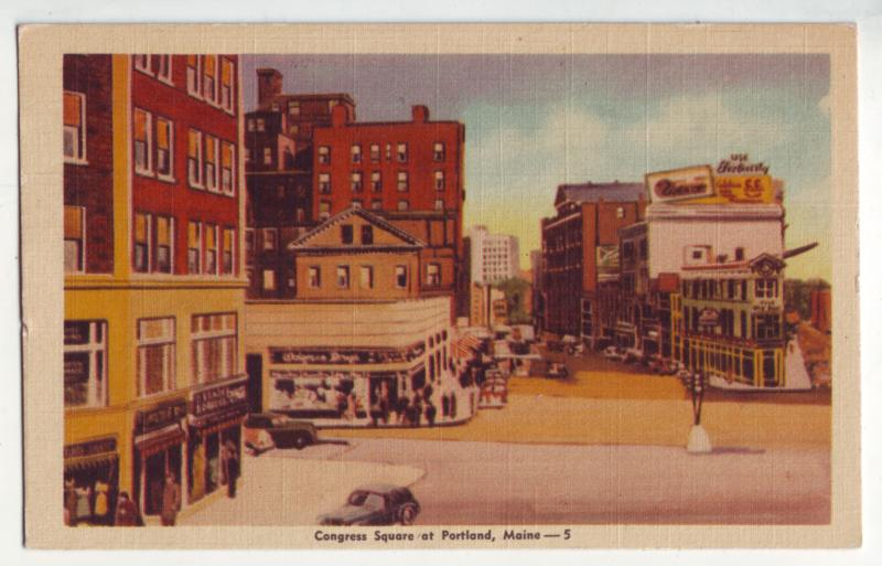 P1090 old card congress square st scene old cars etc portland maine