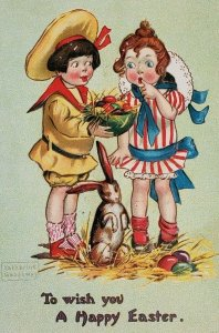 c.1915 To Wish You A Happy Easter - Raphael Tuck & Sons - Children with Rabbit