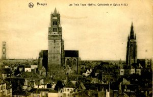 Belgium - Bruges. Three Towers: Beffroi, Cathedral & Church of Notre Dame