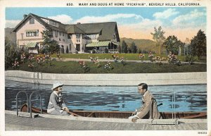 Mary & Doug at Home, Pickfair, Beverly Hills, CA, Early Postcard, Unused