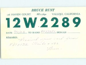Pre-1980 RADIO CARD - CB HAM OR QSL Vallejo California CA AH1203