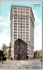 Atlanta, Georgia Postcard CANDLER BUILDING Street View w/ 1910 Trolley Cancel