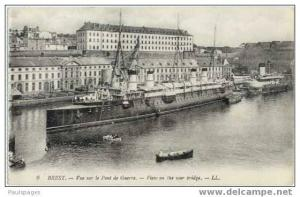 Harbour View of Brest & an Old Ship; View on the war bridge, Divided Back
