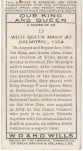 Cigarette Card Wills Our King and Queen No 15 With Queen Mary