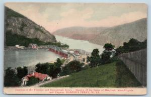 Postcard WV Harpers Ferry 1907 View Town Junction Potomac Shenandoah Rivers M14