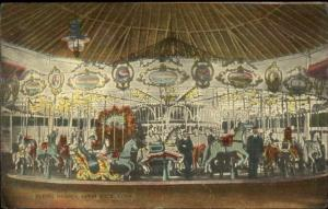 Savin Rock CT Flying Horses Merry Go Round Carousel c1910 Postcard