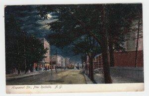 P2084, 1908 postcard night time full moon trolly huguenot st. new rochelle ny