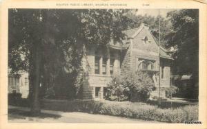 WAUPUN WISCONSIN Public Library Cook Postcard 596