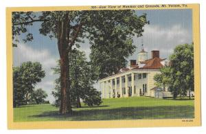VA Mount Vernon Mansion East View Vintage Linen Postcard