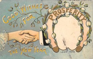 New Year Hold to Light Postal Used Unknown marking on front