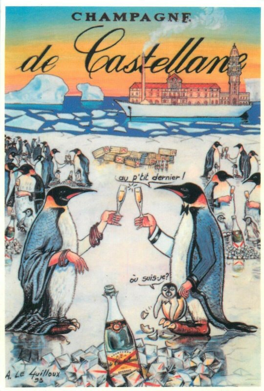 Champagne de Castellane poster advertising postcard penguins cheers