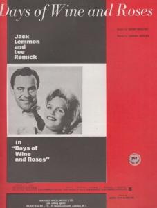 Days Of Wine & Roses Jack Lemmon 1970s Sheet Music