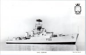 RPPC    Brittish Naval Ship     HMS   GURKHA     c1950s    Postcard