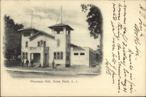 Great Neck Long Island NY Firemens Hall Fire Station c1905 Postcard