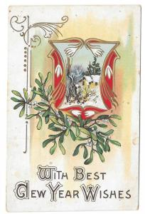 Best New Years Wishes Snow Drops Mistletoe Cottage Postcard