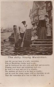 Thr Jolly Young Waterman on Blackfriars Bridge Antique Songcard Postcard