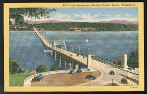 Lake Washington Floating Bridge Seattle Vintage Curteich 1942 Linen Postcard
