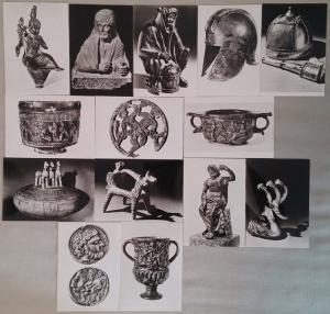 Lot 14 antique art photo postcards Germany Mainz Museum helmets coins statues