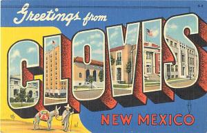 Greetings from Clovis New Mexico, LARGE LETTERS,NM, Linen